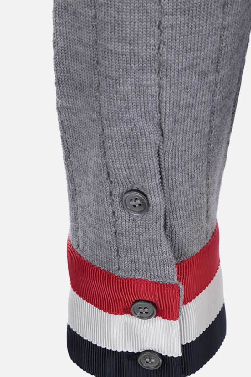 THOM BROWNE: pointelle-stitch wool pullover with tricolor details Color Grey_4