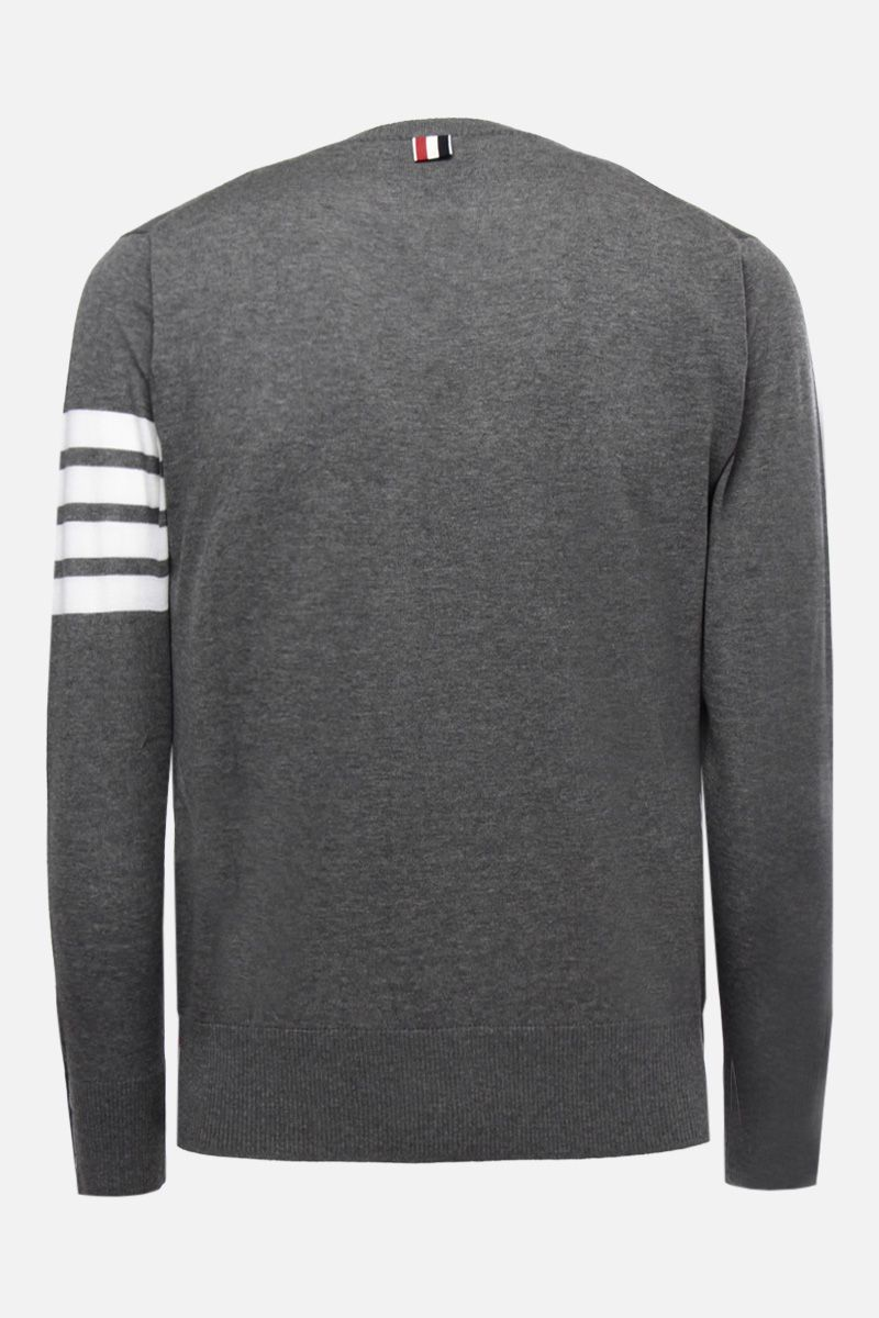THOM BROWNE: wool pullover with 4-Bar intarsia Color Grey_2