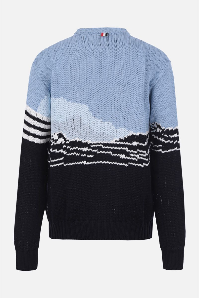 THOM BROWNE: Dolphin and sea scenic jacquard cotton pullover Color Blue_2
