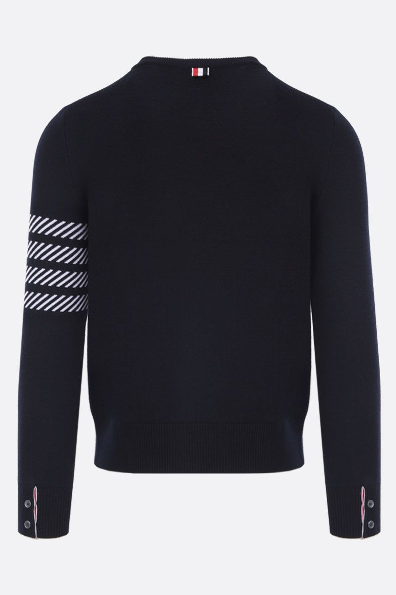 THOM BROWNE: Dolphin Icon intarsia wool blend pullover Color Blue_2