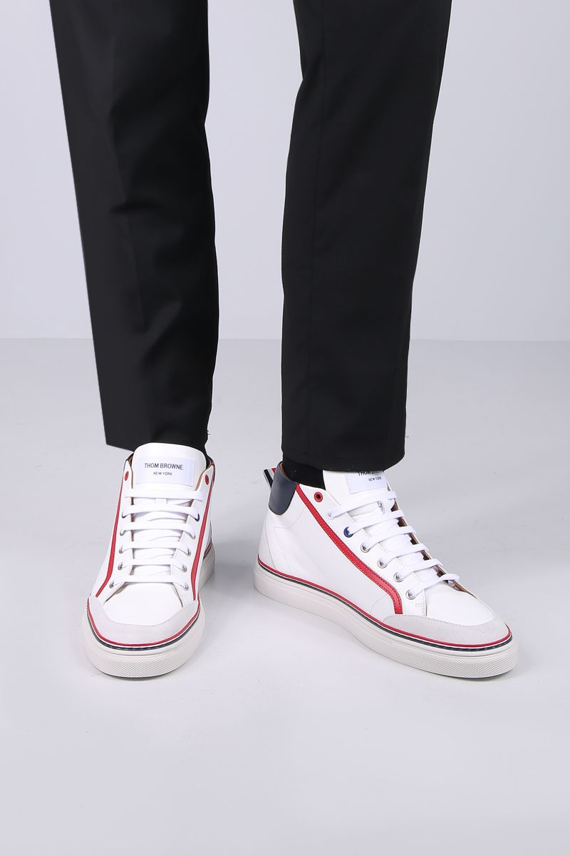 THOM BROWNE: high-top sneakers in smooth leather Color White_2