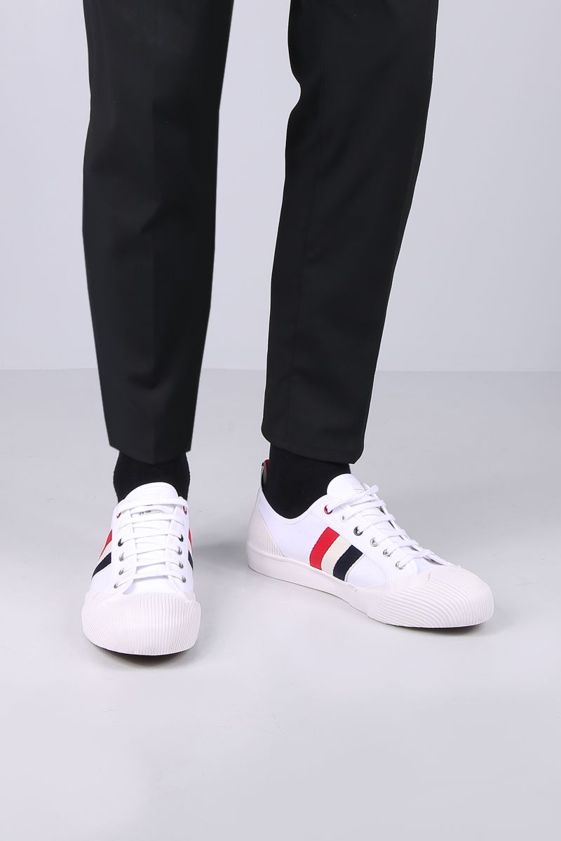 THOM BROWNE: canvas sneakers with tricolor details Color White_2