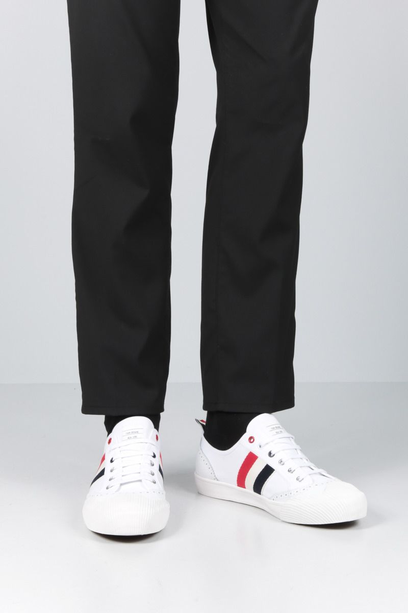 THOM BROWNE: brogued low-top canvas sneakers Color White_2