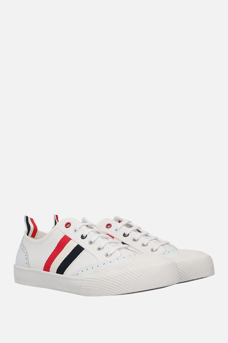 THOM BROWNE: brogued low-top canvas sneakers Color White_3