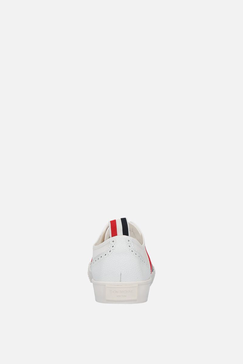 THOM BROWNE: brogued low-top canvas sneakers Color White_4