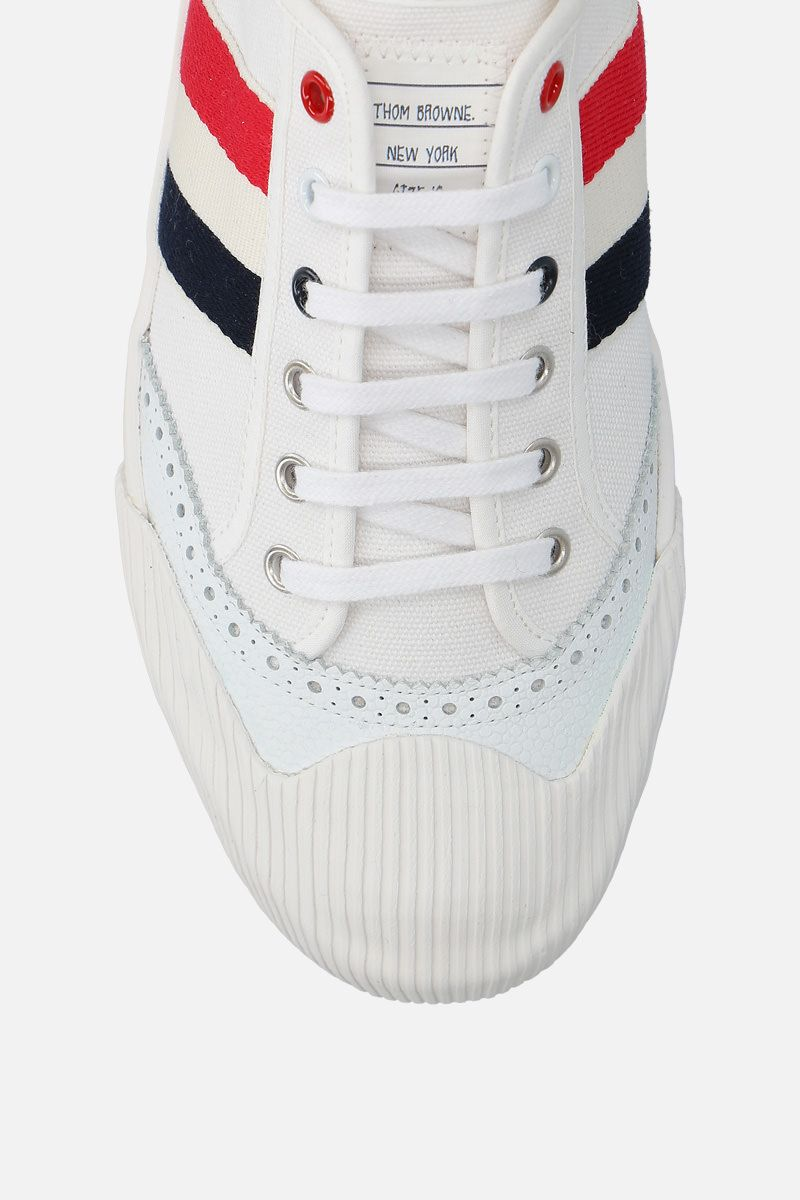 THOM BROWNE: brogued low-top canvas sneakers Color White_5