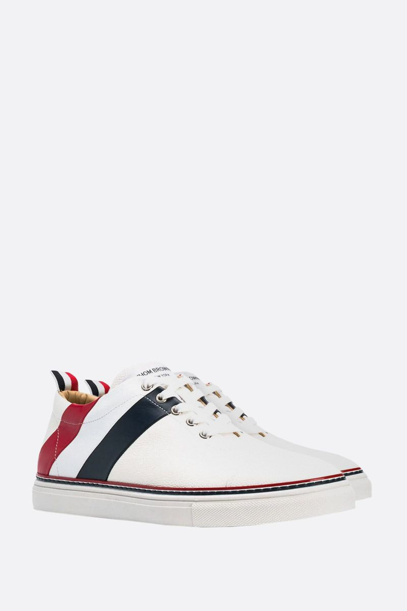 THOM BROWNE: tricolour-detailed Pebble Grain sneakers Color White_2