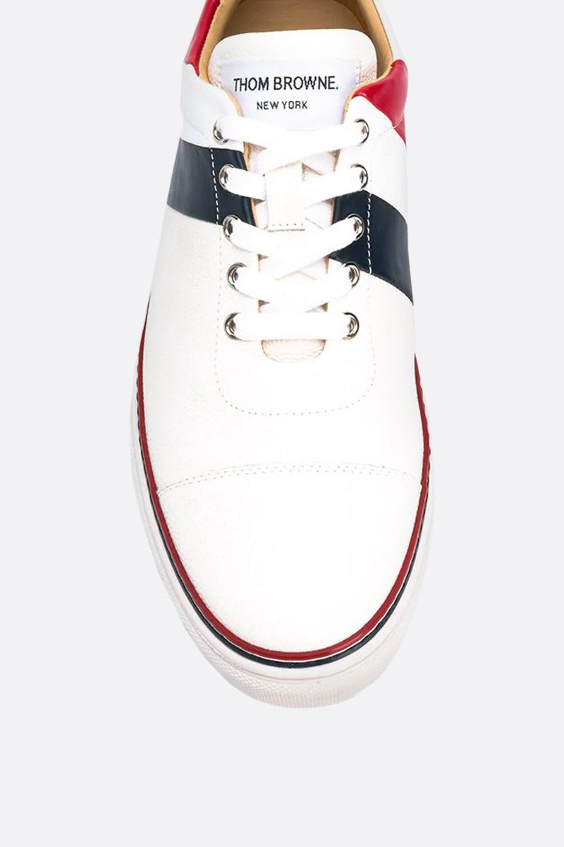 THOM BROWNE: tricolour-detailed Pebble Grain sneakers Color White_3