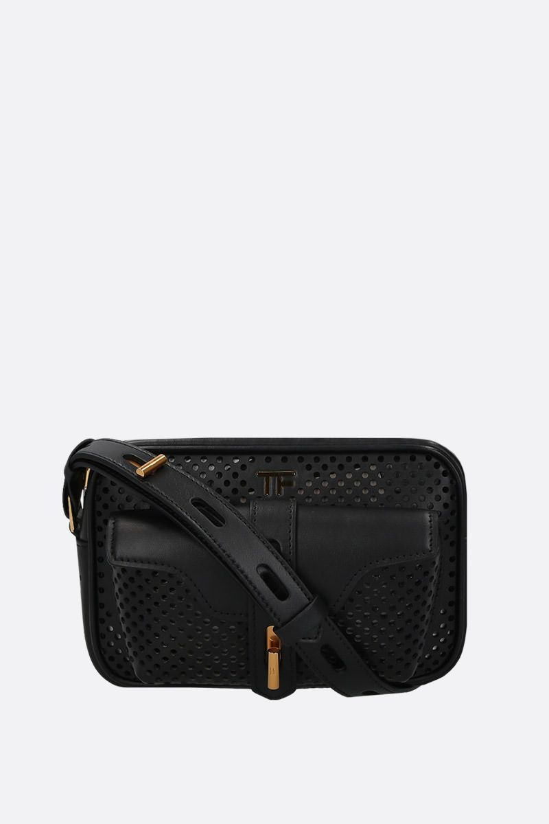 TOM FORD: borsa a tracolla T Twist in pelle traforata Colore Nero_1