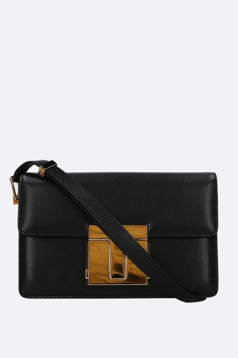 TOM FORD: borsa a spalla 001 media in pelle martellata Colore Nero_1