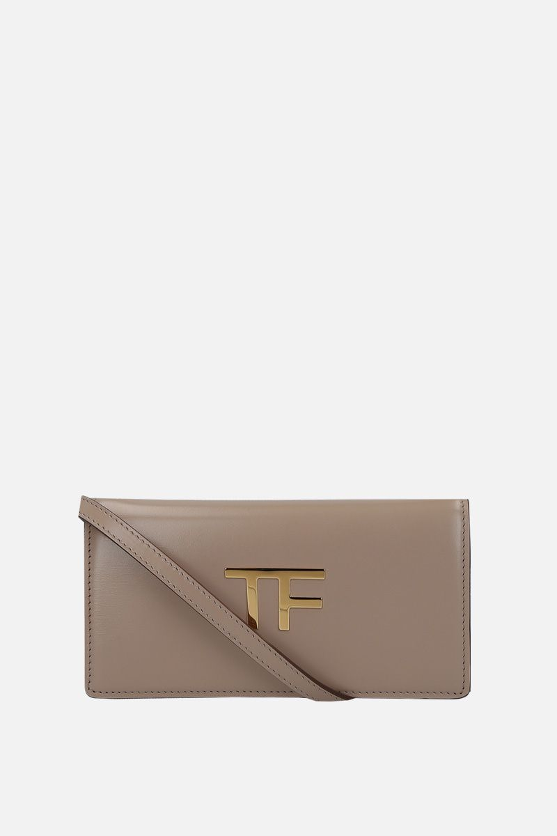 TOM FORD: smooth leather crossbody bag with TF detail Color Grey_1