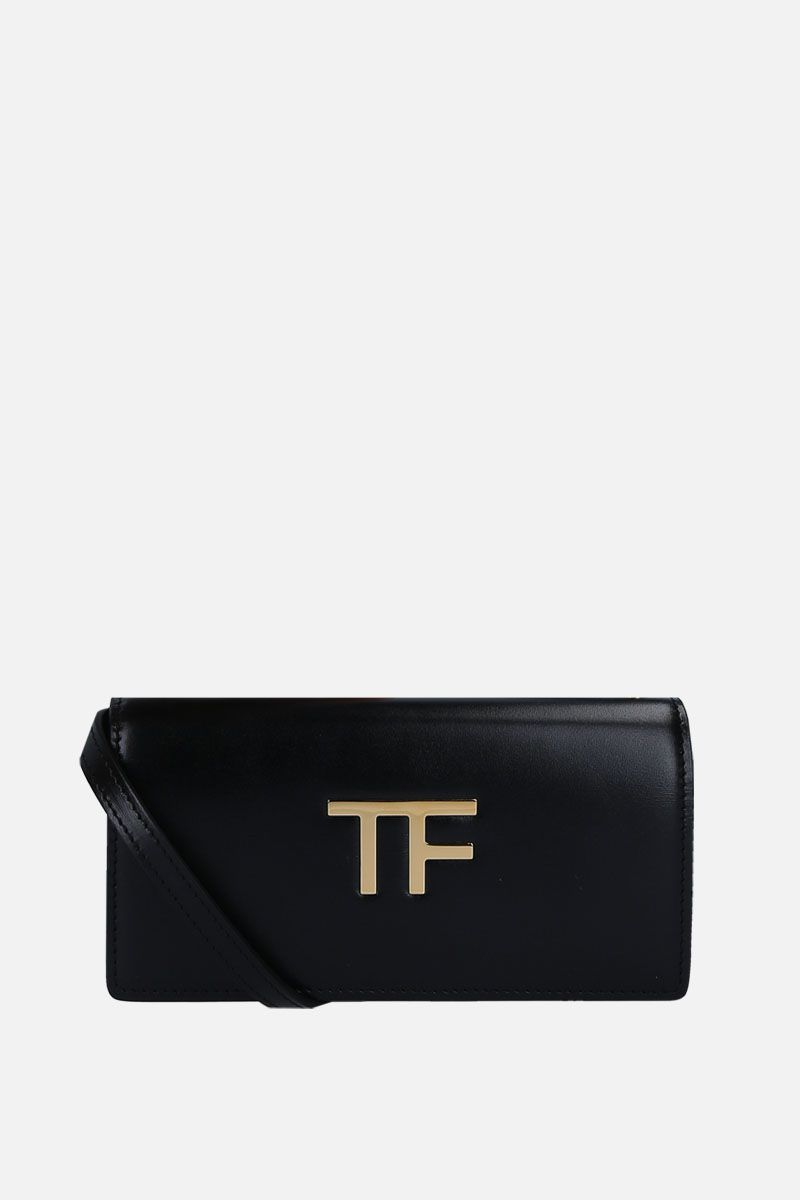 TOM FORD: smooth leather crossbody bag with TF detail Color Black_1