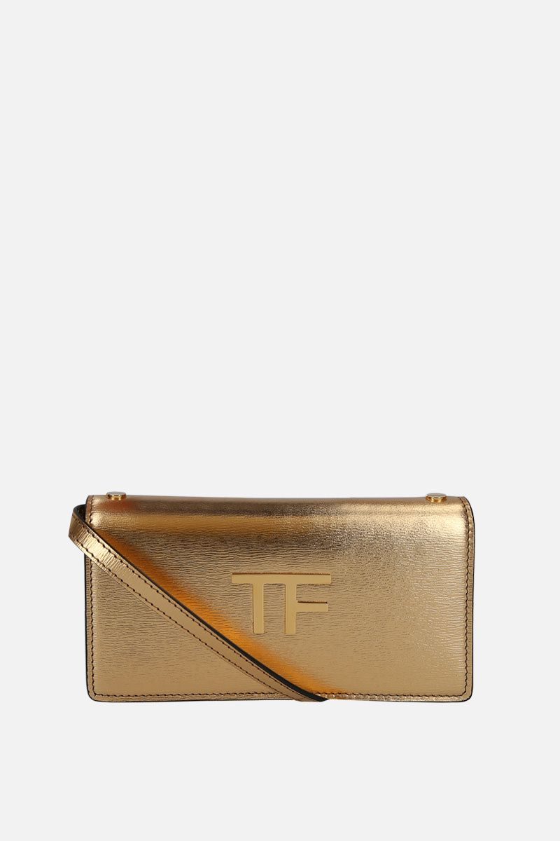 TOM FORD: laminated leather crossbody bag with TF detail Color Gold_1