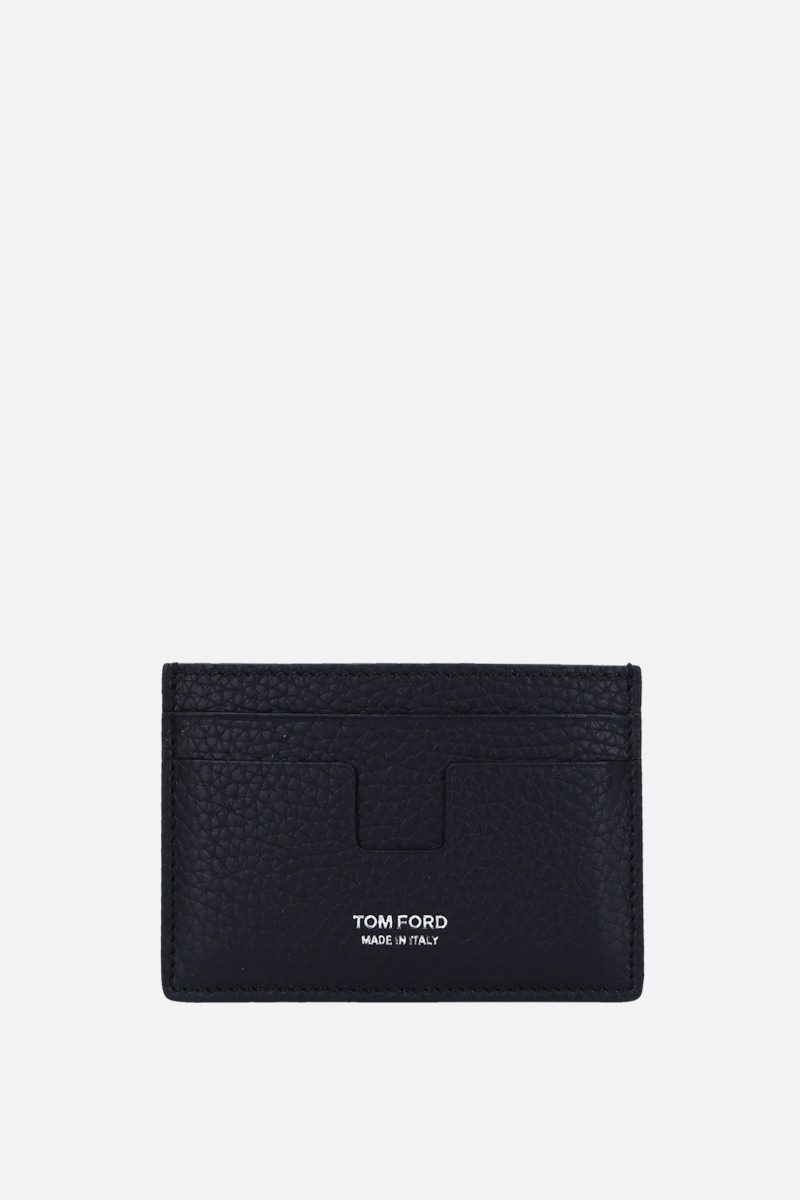 TOM FORD: T-line card case in grainy leather Color Blue_1