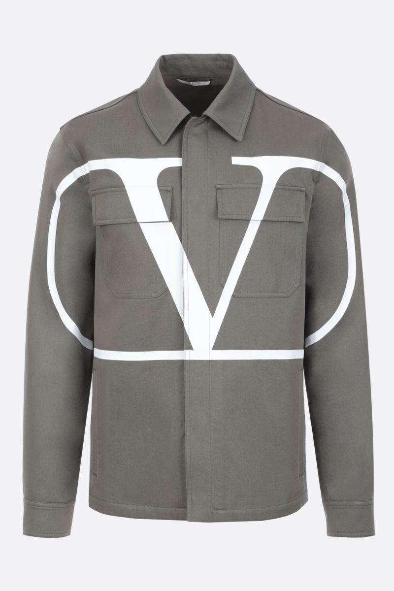 VALENTINO: VLOGO safari jacket in cotton gabardine Color Green_1