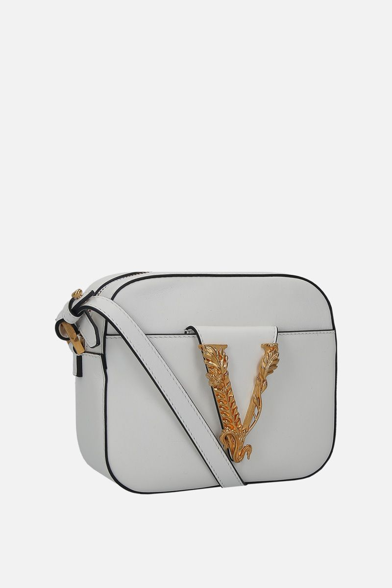 VERSACE: Virtus smooth leather camera bag Color White_3