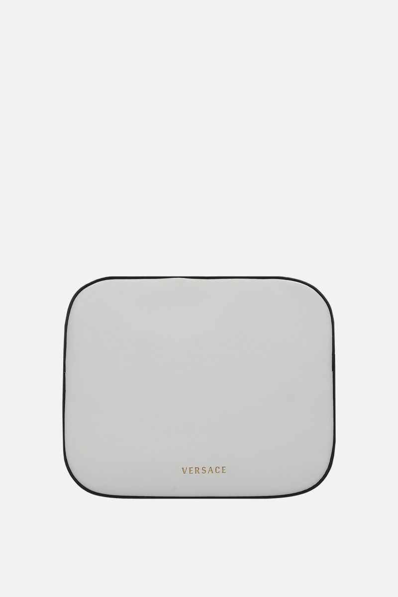 VERSACE: Virtus smooth leather camera bag Color White_4