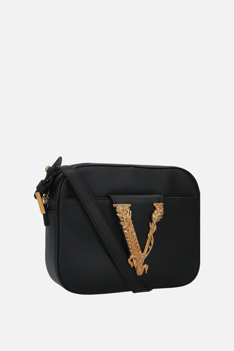 VERSACE: Virtus smooth leather camera bag Color Black_3