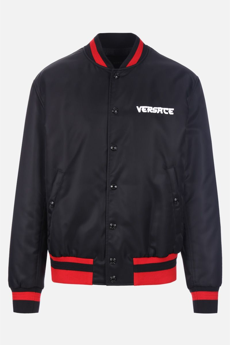 VERSACE: Medusa embroidered nylon padded bomber jacket Color Black_1