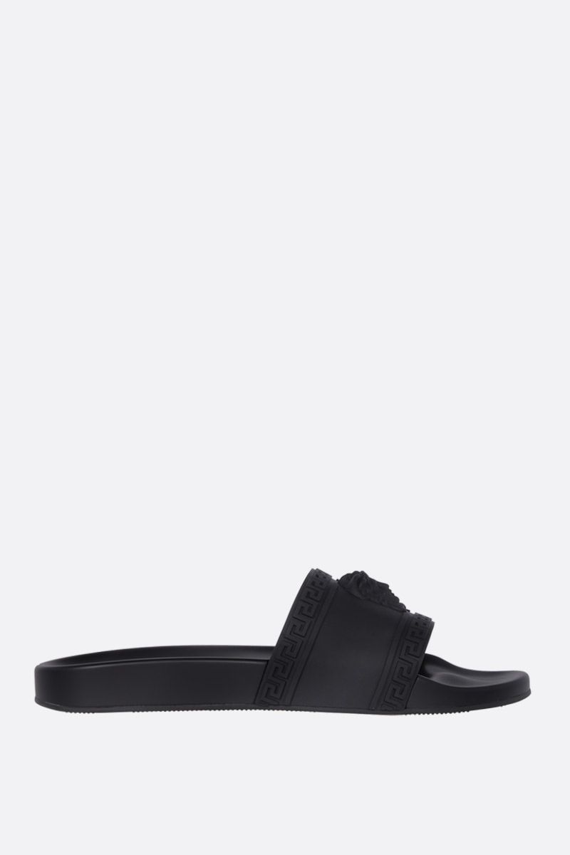 VERSACE: Palazzo rubber slide sandals Color Black_1