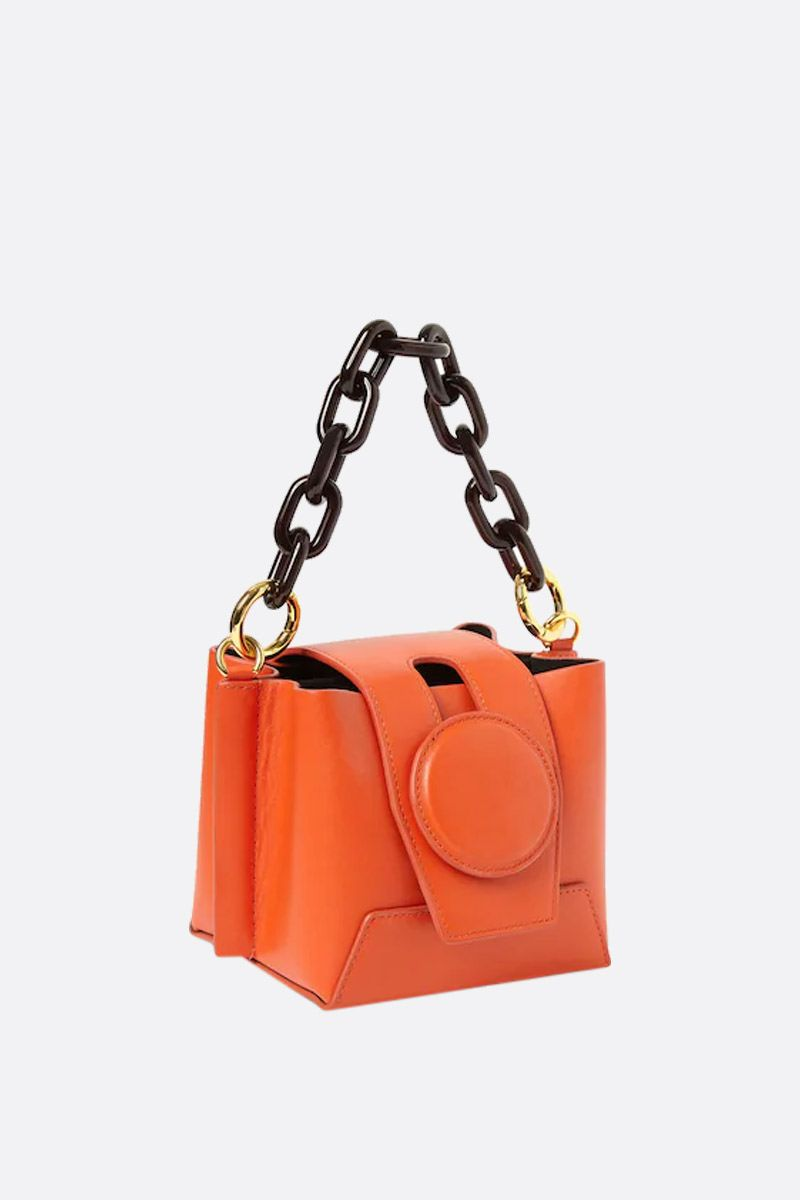 YUZEFI: Daria bucket bag in smooth leather Color Orange_2