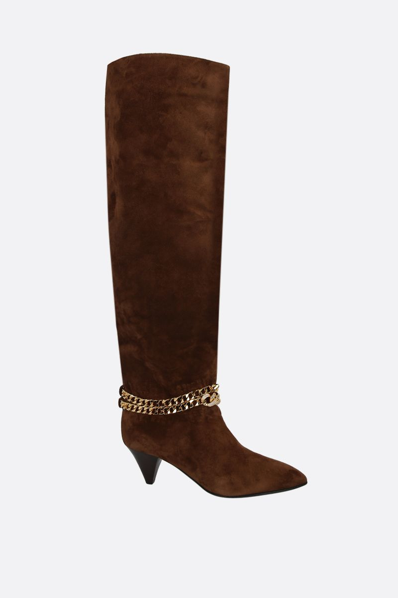 ALEVI' MILANO: Camille velvet suede boots Color Brown_1