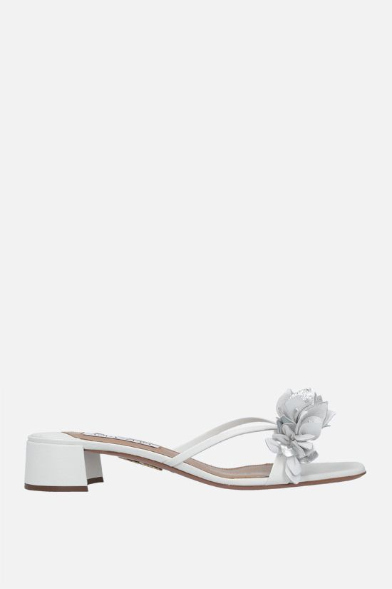 AQUAZZURA: Bouganvillea nappa sandals Color White_1