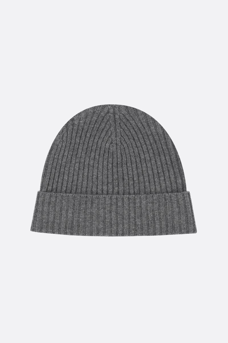ASPESI: cashmere rib knit beanie Color Grey_1