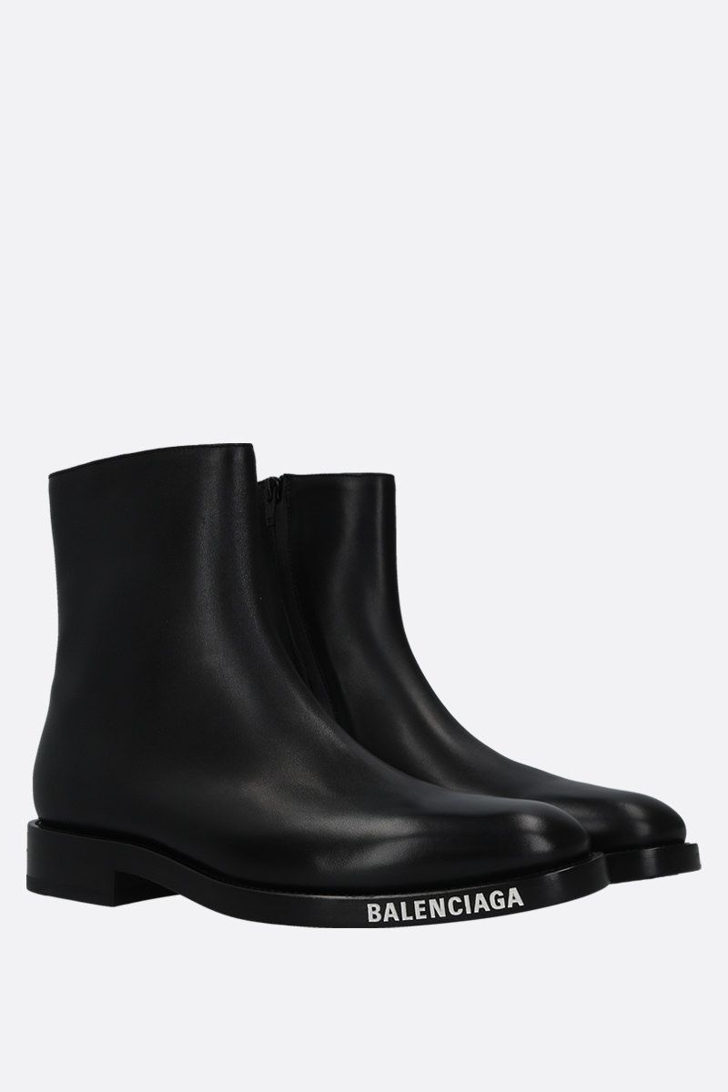 BALENCIAGA: shiny leather ankle boots Color Black_2