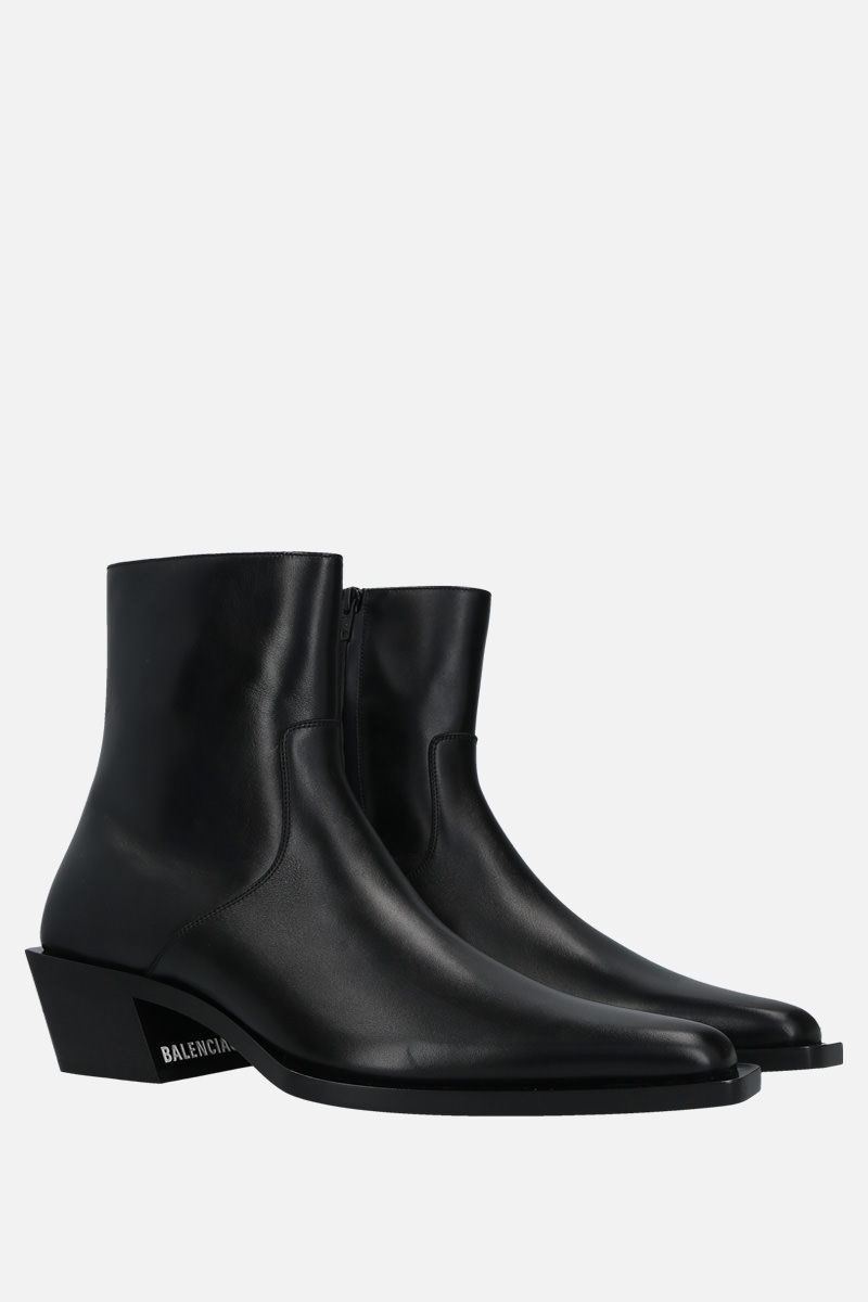 BALENCIAGA: Tiaga shiny leather western boots Color Black_2