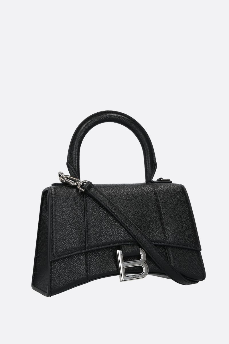 BALENCIAGA: Hourglass XS grainy leather handbag Color Black_2