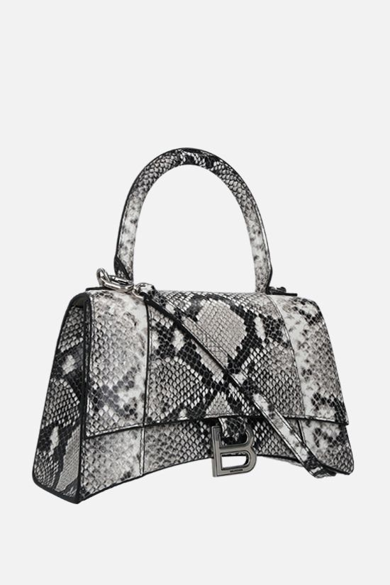 BALENCIAGA: Hourglass small python-embossed leather handbag Color Black_2