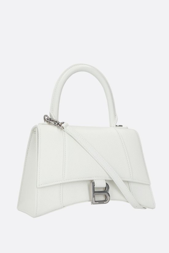 BALENCIAGA: Hourglass small grainy leather handbag Color White_2