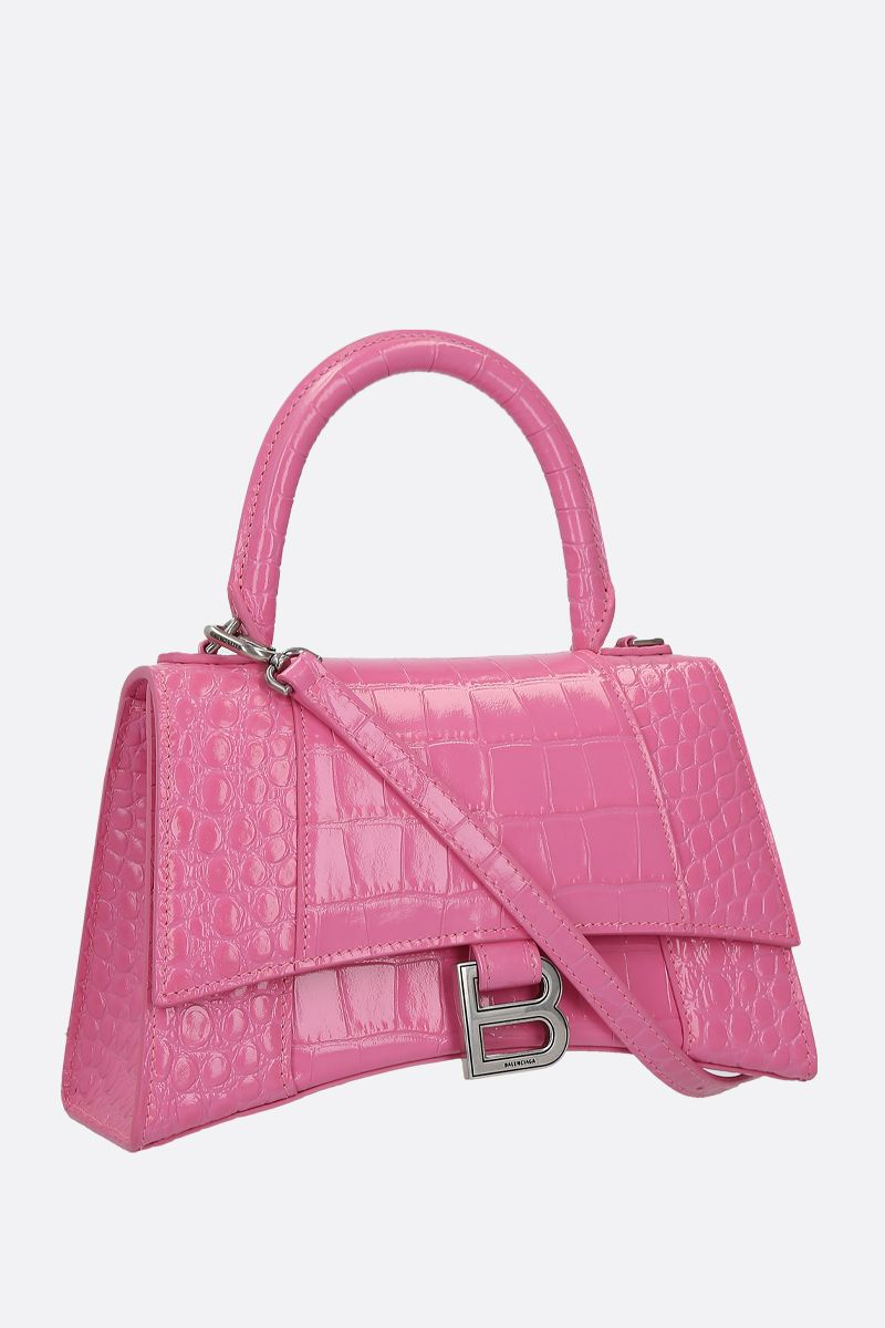 BALENCIAGA: Hourglass small crocodile embossed leather handbag Color Pink_2