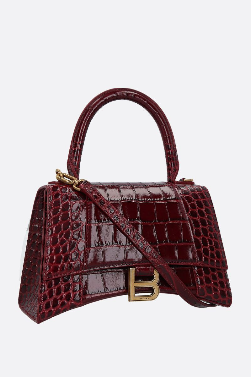 BALENCIAGA: Hourglass small crocodile embossed leather handbag Color Red_2
