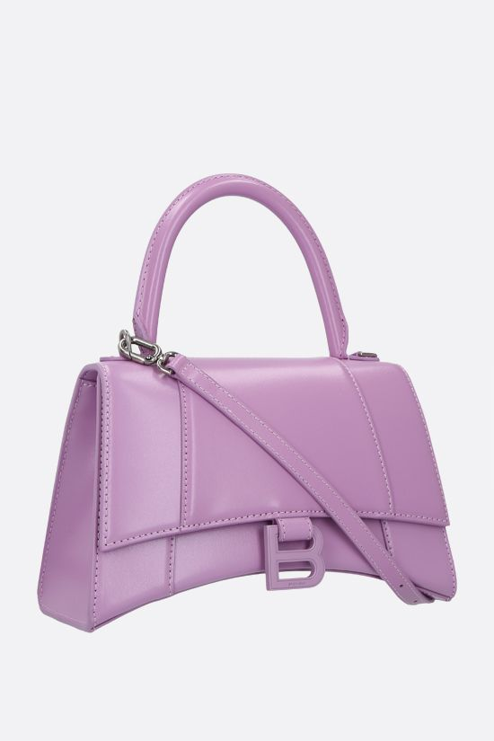 BALENCIAGA: Hourglass small shiny leather handbag Color Purple_2