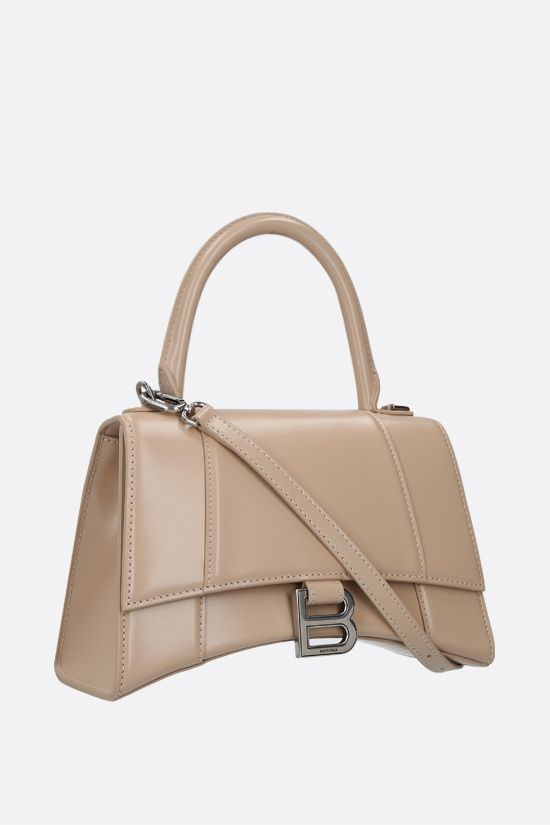 BALENCIAGA: Hourglass small shiny leather handbag Color Neutral_2