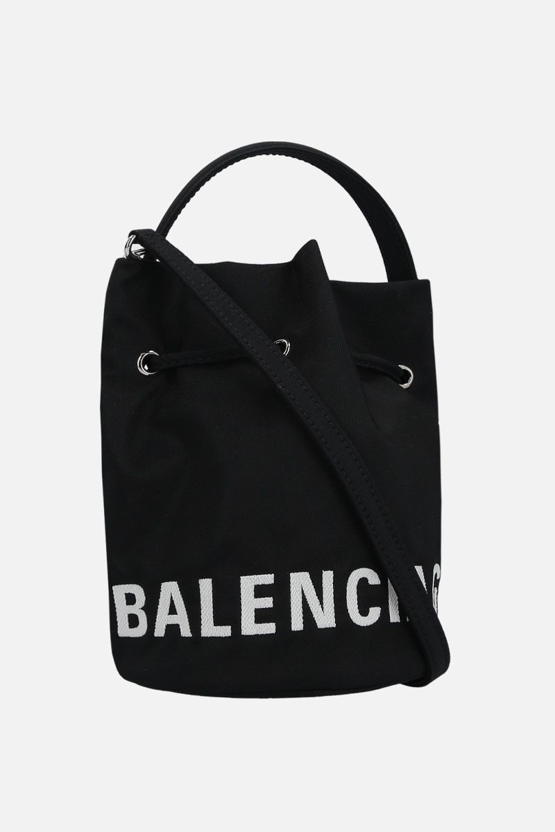 BALENCIAGA: Wheel XS nylon bucket bag Color Black_2