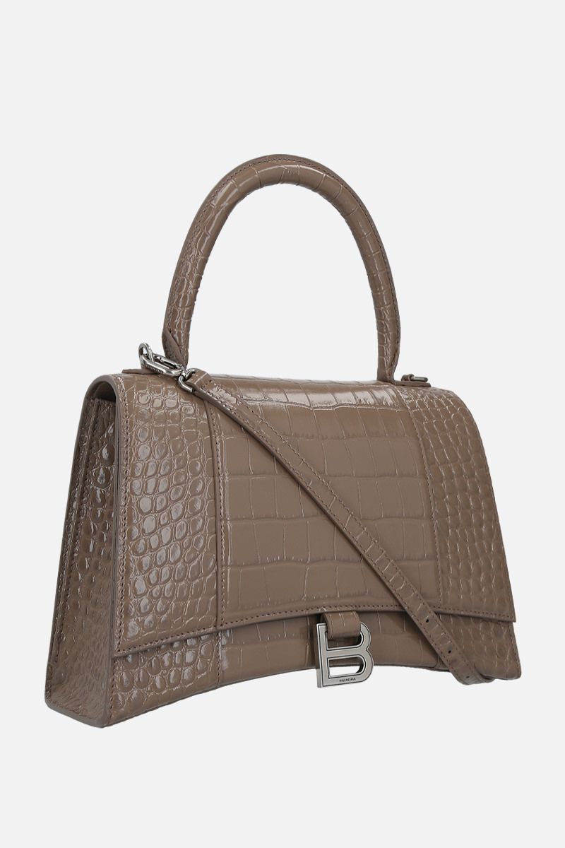 BALENCIAGA: Hourglass medium handbag in crocodile embossed leather_2