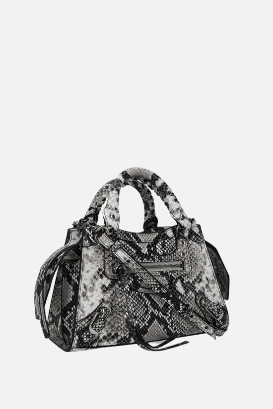 BALENCIAGA: Neo Classic City mini python-embossed leather handbag Color Black_2