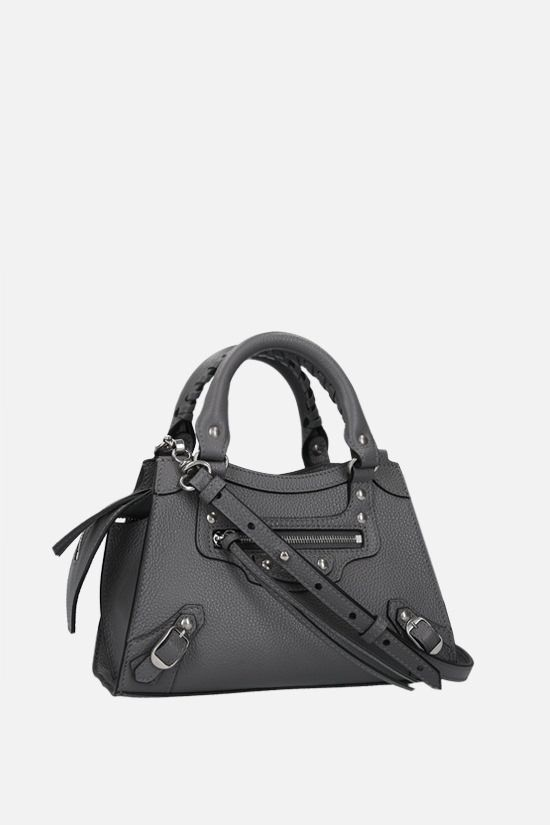 BALENCIAGA: Neo Classic City mini grainy leather handbag Color Grey_2