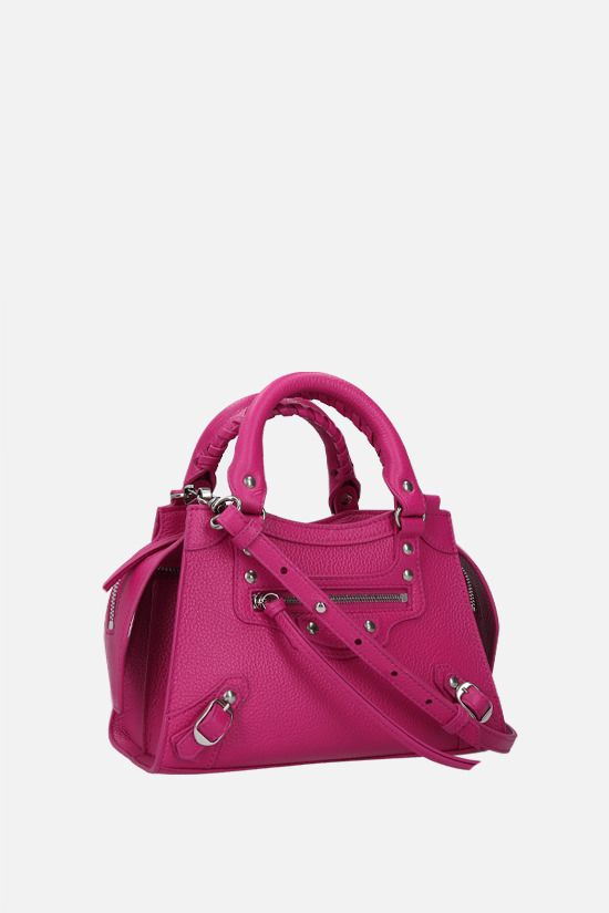 BALENCIAGA: Neo Classic City mini grainy leather handbag Color Purple_2