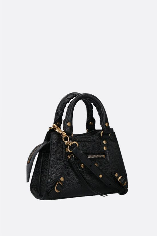 BALENCIAGA: Neo Classic City nano grainy leather handbag Color Black_2