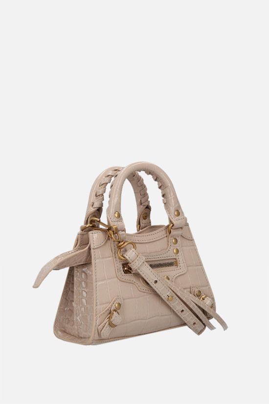 BALENCIAGA: Neo Classic City nano croco-embossed leather handbag Color Neutral_2