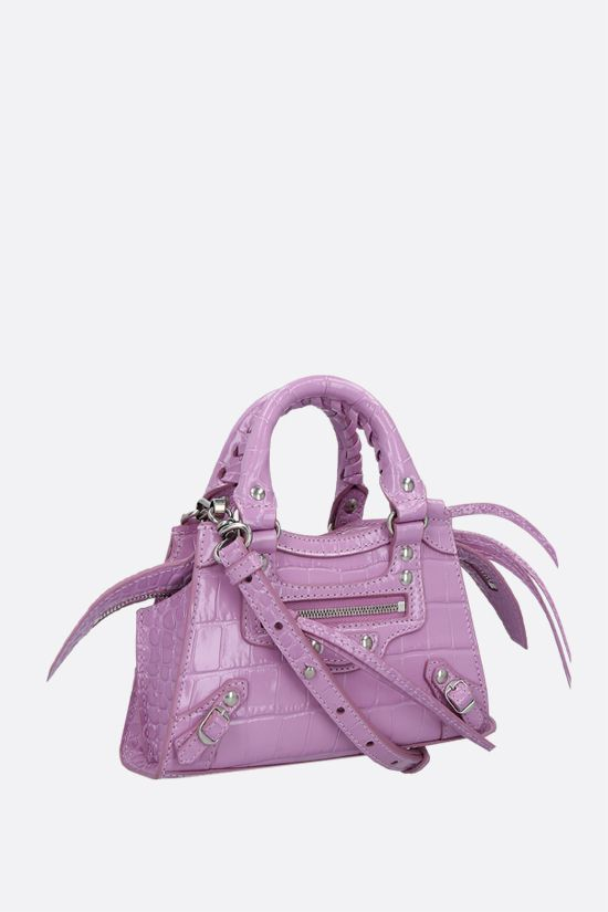 BALENCIAGA: Neo Classic City nano croco-embossed leather handbag Color Purple_2