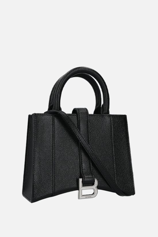 BALENCIAGA: Hourglass XXS grainy leather handbag Color Black_2