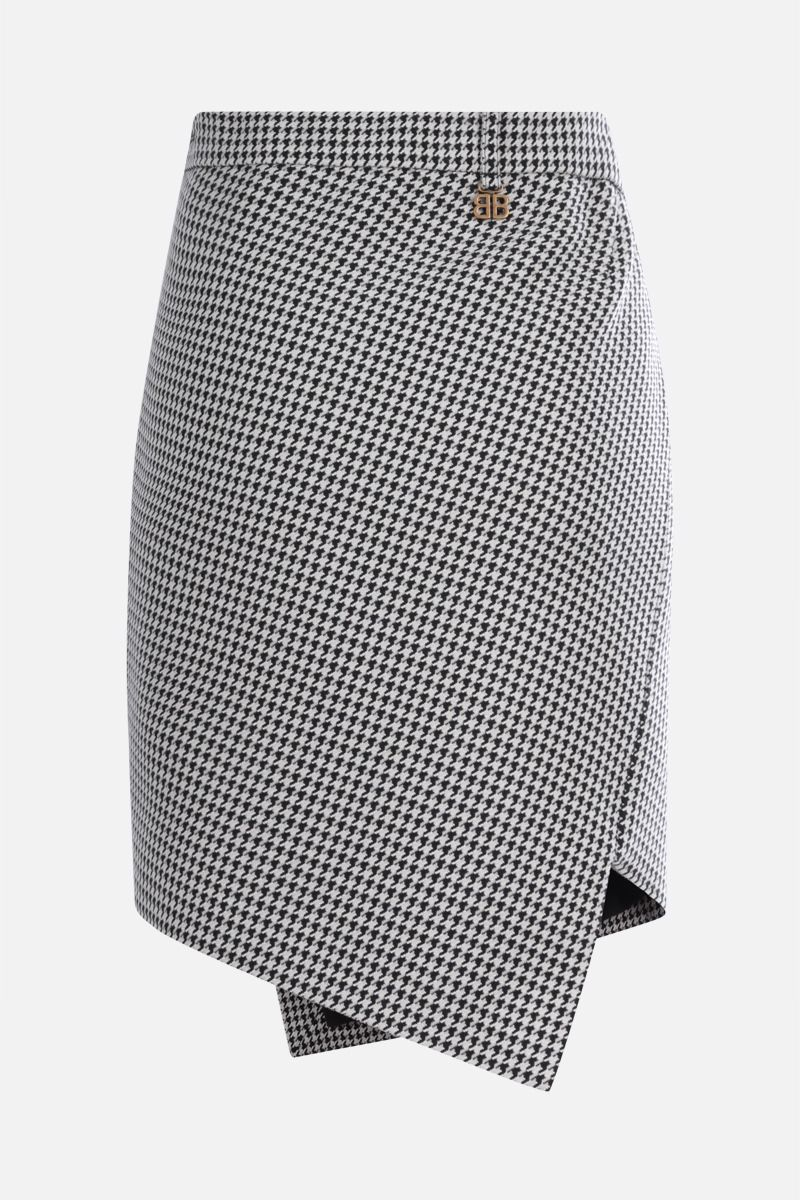 BALENCIAGA: houndstooth wool blend asymmetric skirt Color White_2