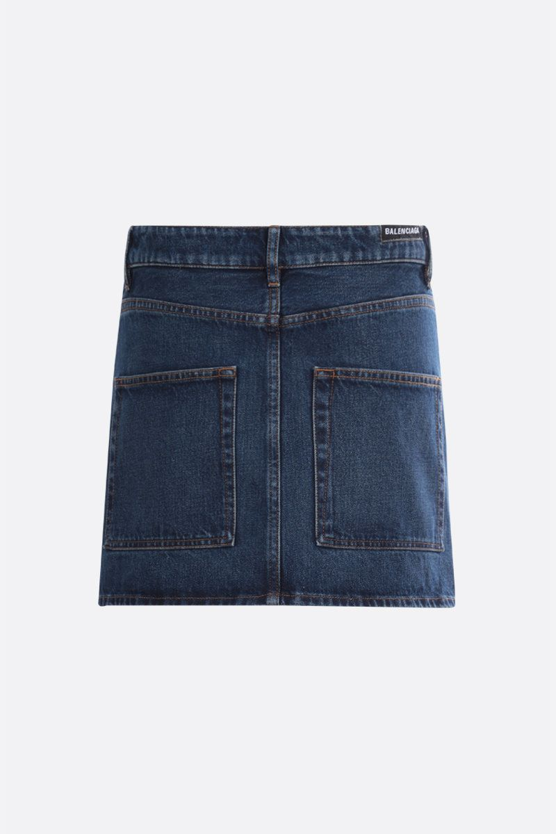 BALENCIAGA: logo label-detailed denim miniskirt_2