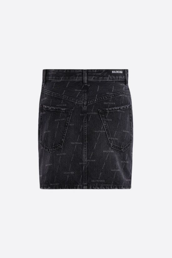 BALENCIAGA: logo print denim miniskirt Color Black_2