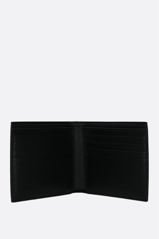 BALENCIAGA: Grad Logo print smooth leather billfold wallet Color Black_2